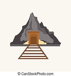 montanha, mineração, gráfico, ilustração, vetorial, estrada ferro