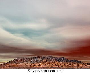 montanha, mineração, ravaged, deserto