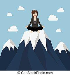 montanha, mulher meditando, pico, negócio