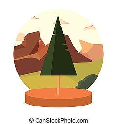 montanha, natural, árvore, terreno, pinho, paisagem