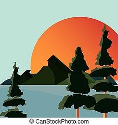 montanha, natural, sol, lago, árvores, paisagem