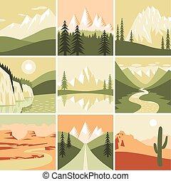 montanha, natureza, ícones