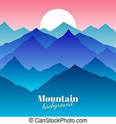 montanha, natureza, abstratos, vetorial, pôr do sol, fundo, paisagem