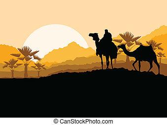 montanha, natureza, caravana, camelo, fundo, selvagem, ...