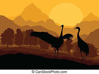montanha, natureza, par, ilustração, vetorial, fundo, selvagem, guindaste, paisagem