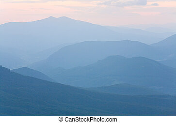montanha, nebuloso, alvorada