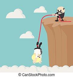 montanha, negócio, ajudando, outro, cada, escalar, penhasco