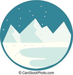 montanha, neva-coberto, clipart, cor, ilustração, desenho, gama, vetorial, branca, ou