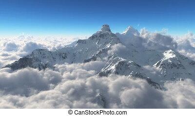 montanha, neve, nuvens