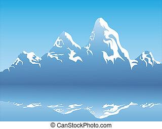 montanha, neve, reflexão