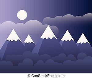 montanha, nuvens, céu roxo, abstratos, -, lua, vetorial, floresta, paisagem