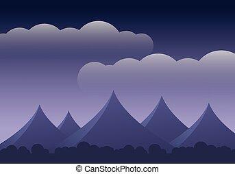 montanha, nuvens, espaço, céu roxo, abstratos, -, floresta, texto, seu, paisagem