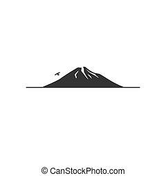 montanha, pássaro voador, ícone