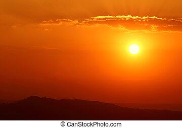 montanha, pôr do sol, clouds.