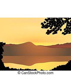 montanha, pôr do sol