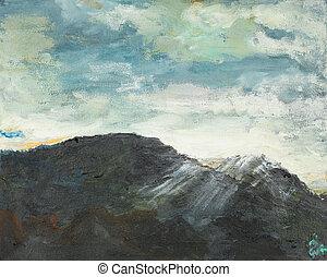 montanha, paisagem abstrata