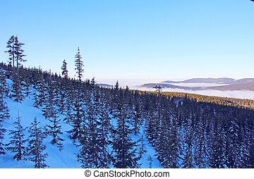 montanha, paisagem inverno