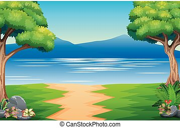montanha, paisagem rio, natureza