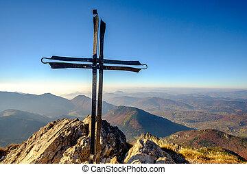 montanha, panorâmico, metal, crucifixos, eslováquia, pico, paisagem, vista