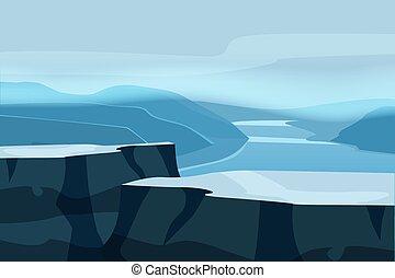 montanha, panorama., colinas, espaço, isolated., paisagem, ...