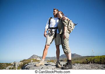 montanha, par hiking, terreno, olhar, saída
