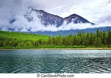 montanha, parque nacional, lago, jasper