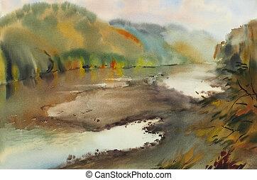 montanha, pintado, lago, aquarela, paisagem outono