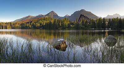 montanha, pleso, -, lago, eslováquia, tatra, strbske