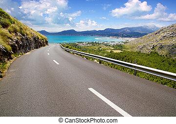 montanha, pollensa, curva, mallorca, estrada, vista