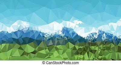 montanha, poly, desenho, baixo, fundo, paisagem