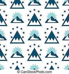 montanha, projete elementos, silueta, vindima, seamless, vetorial, exploração, fundo, rocha, padrão