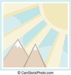 montanha, quadrado, cena