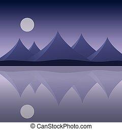 montanha, reflexão, céu roxo, abstratos, -, lua, água, costa, vetorial, mar, paisagem