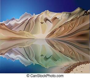 montanha, reflexão, paisagem