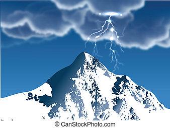 montanha, relampago