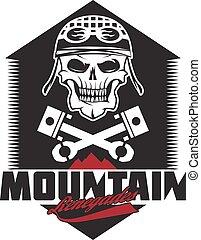 montanha, renegades, vindima, impressão, com, cranio, pistões, montanhas