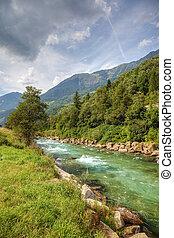 montanha, rio, alpes, limpo, suíço, europe.