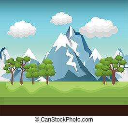 montanha, rio, desenho, paisagem verde