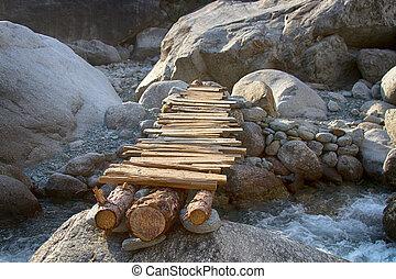 montanha, rio, durante, inverno, planície, e, pequeno, temporário, ponte
