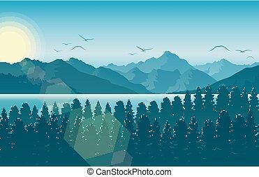 montanha, rio, floresta, paisagem, manhã