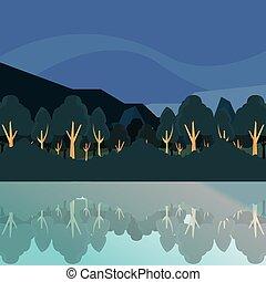 montanha, rio, natural, paisagem, árvores