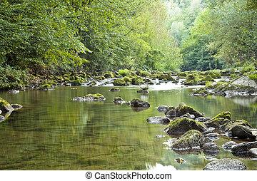 montanha, rio, natureza