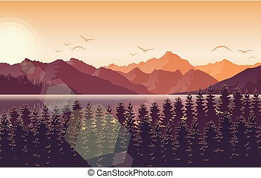 montanha, rio, pôr do sol, floresta, paisagem