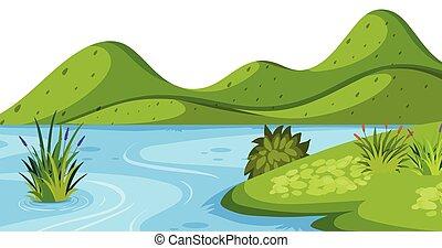 montanha, rio, paisagem verde, fundo