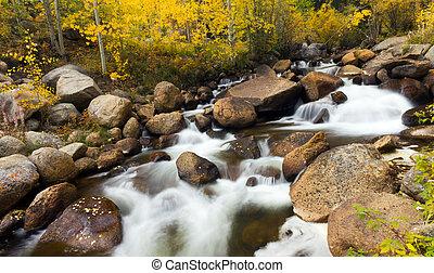 montanha, rochoso, colorado, fluxo, outono