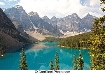 montanha, rochoso, lago