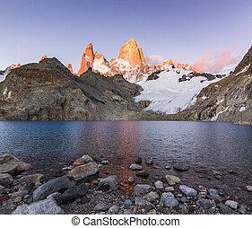 montanha, roy, lago, fitz, amanhecer, vermelho