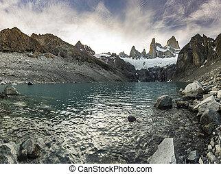 montanha, roy, lago, fitz, pôr do sol, vermelho