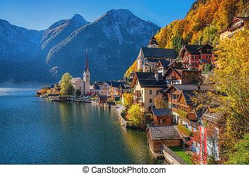 montanha, salzkammergut, luz, manhã, outono, áustria, vila, hallstatt