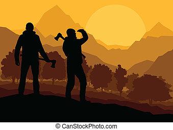 montanha, selvagem, loggers, paisagem, machados, floresta, ...